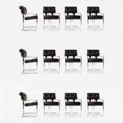 Guido Faleschini Set of 12 Pace Faleschini Leather and Chrome Tucroma Chairs - 433474