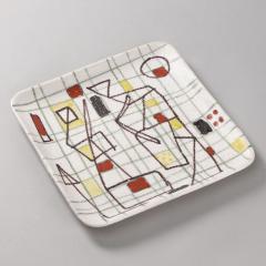 Guido Gambone Ceramic Freeform Plate by Guido Gambone Abstract Hand Painted Decor - 1145241
