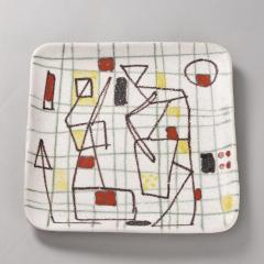 Guido Gambone Ceramic Freeform Plate by Guido Gambone Abstract Hand Painted Decor - 1145242