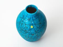 Guido Gambone Large 1950s Guido Gambone Esoteric Ceramic Vessel in Stunning Mediterranean Blue - 152503