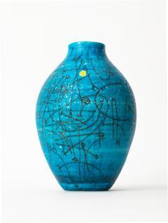 Guido Gambone Large 1950s Guido Gambone Esoteric Ceramic Vessel in Stunning Mediterranean Blue - 152504