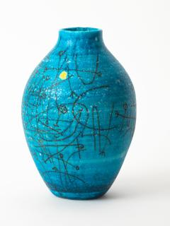Guido Gambone Large 1950s Guido Gambone Esoteric Ceramic Vessel in Stunning Mediterranean Blue - 152505