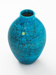 Guido Gambone Large 1950s Guido Gambone Esoteric Ceramic Vessel in Stunning Mediterranean Blue - 152508