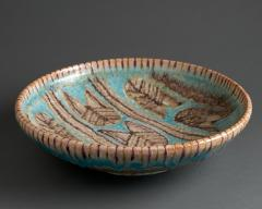 Guido Gambone Large Shallow Bowl in Shades of Turquoise Brown and Taupe - 364109