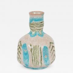 Guido Gambone Signed Midcentury Handcrafted Green and Turquoise Ceramic Vase by Guido Gambone - 1563225