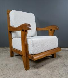 Guillerme et Chambron 1960s Guillerme et Chambron Oak and Boucl Armchair France - 2172753