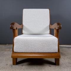 Guillerme et Chambron 1960s Guillerme et Chambron Oak and Boucl Armchair France - 2172754