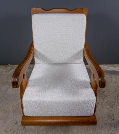 Guillerme et Chambron 1960s Guillerme et Chambron Oak and Boucl Armchair France - 2172755