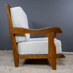Guillerme et Chambron 1960s Guillerme et Chambron Oak and Boucl Armchair France - 2172756