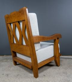 Guillerme et Chambron 1960s Guillerme et Chambron Oak and Boucl Armchair France - 2172757