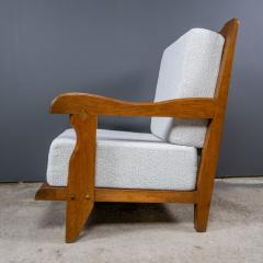 Guillerme et Chambron 1960s Guillerme et Chambron Oak and Boucl Armchair France - 2172760