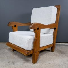 Guillerme et Chambron 1960s Guillerme et Chambron Oak and Boucl Armchair France - 2172761