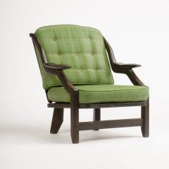 Guillerme et Chambron A French Guillerme et Chambron black oak armchair circa 1970 - 1685355