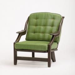 Guillerme et Chambron A French Guillerme et Chambron black oak armchair circa 1970 - 1685360