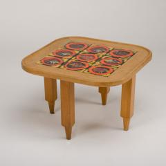 Guillerme et Chambron A French Guillerme et Chambron square oak coffee table with ceramic tile top - 1685357