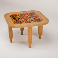 Guillerme et Chambron A French Guillerme et Chambron square oak coffee table with ceramic tile top - 1685359