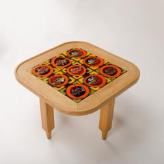 Guillerme et Chambron A French Guillerme et Chambron square oak coffee table with ceramic tile top - 1685361