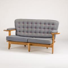Guillerme et Chambron A French Guillerme et Chambron two seat carved oak settee 1960s - 1685332