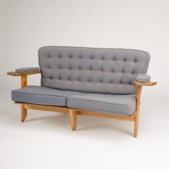 Guillerme et Chambron A French Guillerme et Chambron two seat carved oak settee 1960s - 1685333