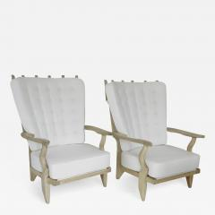 Guillerme et Chambron French Pair of Grand Repos Lounge Chairs by Guillerme et Chambron Votre Maison - 1117398