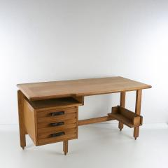 Guillerme et Chambron Guillerme and Chambron 3 Drawers Oak Desk with Ceramic Handles - 894148