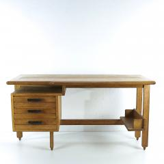 Guillerme et Chambron Guillerme and Chambron 3 Drawers Oak Desk with Ceramic Handles - 894149