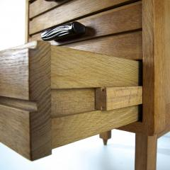 Guillerme et Chambron Guillerme and Chambron 3 Drawers Oak Desk with Ceramic Handles - 894154
