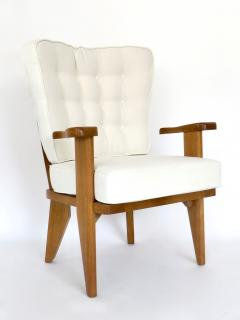 Guillerme et Chambron Guillerme et Chambron French Natual Oak Lounge Chairs White Belgian Linen - 1039833