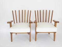 Guillerme et Chambron Guillerme et Chambron French Natual Oak Lounge Chairs White Belgian Linen - 1039835