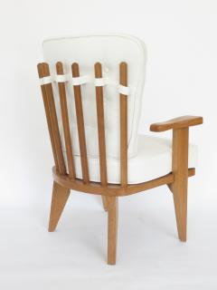 Guillerme et Chambron Guillerme et Chambron French Natual Oak Lounge Chairs White Belgian Linen - 1039841