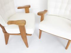 Guillerme et Chambron Guillerme et Chambron French Natual Oak Lounge Chairs White Belgian Linen - 1039848