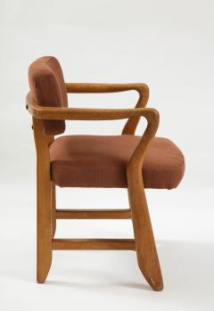 Guillerme et Chambron Mid Century Oak and Linen Bridge Chair by Guillerme et Chambron - 2057694