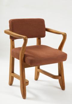 Guillerme et Chambron Mid Century Oak and Linen Bridge Chair by Guillerme et Chambron - 2057695