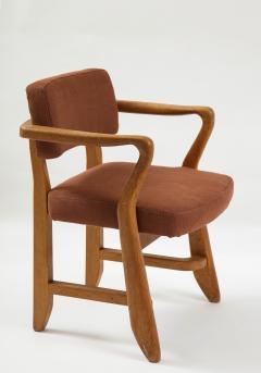 Guillerme et Chambron Mid Century Oak and Linen Bridge Chair by Guillerme et Chambron - 2057696