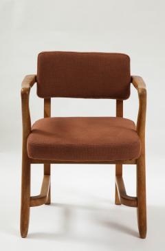 Guillerme et Chambron Mid Century Oak and Linen Bridge Chair by Guillerme et Chambron - 2057697