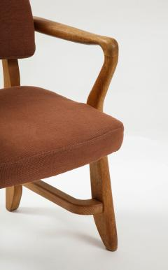 Guillerme et Chambron Mid Century Oak and Linen Bridge Chair by Guillerme et Chambron - 2057698