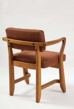 Guillerme et Chambron Mid Century Oak and Linen Bridge Chair by Guillerme et Chambron - 2057699