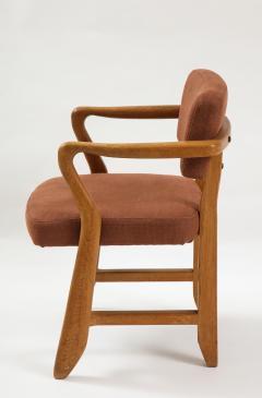 Guillerme et Chambron Mid Century Oak and Linen Bridge Chair by Guillerme et Chambron - 2057700