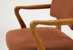 Guillerme et Chambron Mid Century Oak and Linen Bridge Chair by Guillerme et Chambron - 2057701