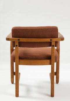 Guillerme et Chambron Mid Century Oak and Linen Bridge Chair by Guillerme et Chambron - 2057702