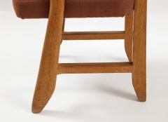 Guillerme et Chambron Mid Century Oak and Linen Bridge Chair by Guillerme et Chambron - 2057703