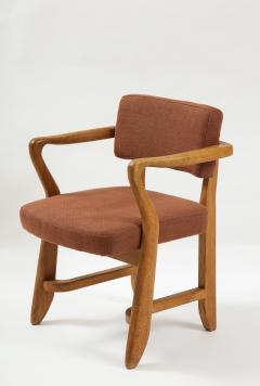 Guillerme et Chambron Mid Century Oak and Linen Bridge Chair by Guillerme et Chambron - 2057704