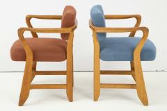 Guillerme et Chambron Oak Bridge armchairs by Guillerme et Chambron for Votre Maison France 1950s - 1223863