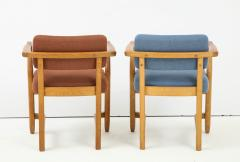Guillerme et Chambron Oak Bridge armchairs by Guillerme et Chambron for Votre Maison France 1950s - 1223865