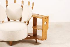 Guillerme et Chambron Oak Corner Armchair by Guillerme and Chambron for Votre Maison 1960s - 1066481