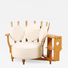 Guillerme et Chambron Oak Corner Armchair by Guillerme and Chambron for Votre Maison 1960s - 1074410