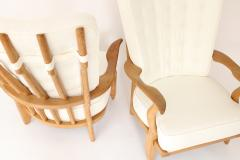 Guillerme et Chambron Pair of French Oak Grand Repos Lounge Chairs Guillerme et Chambron Votre Maison - 1308424