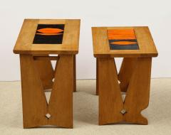 Guillerme et Chambron Pair of Nesting Tables with Tiles - 1116618