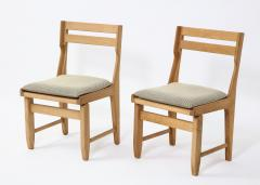 Guillerme et Chambron Pair of Solid Oak Guillerme Chambron Chairs France 1970s - 1715440