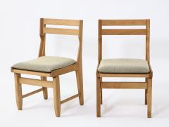 Guillerme et Chambron Pair of Solid Oak Guillerme Chambron Chairs France 1970s - 1715441